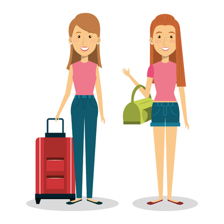 persons with suitcase travel  vector illustration design Illustration