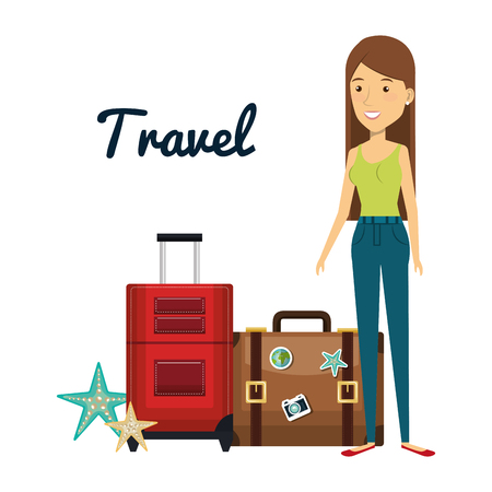 Woman character with suitcase travel vector illustration design. 向量圖像