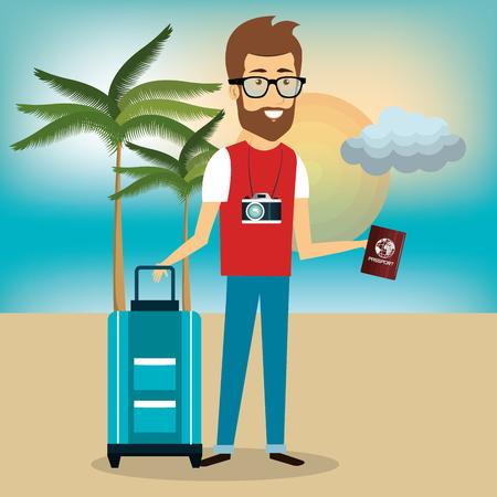 Traveler man avatar character vector illustration design. Illustration
