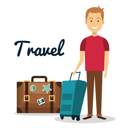Traveler man avatar character vector illustration design
