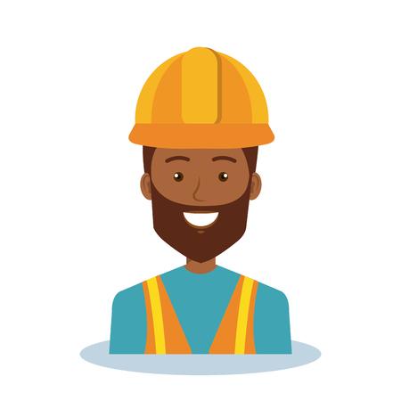arquitecto caricatura: Diseño profesional de la ilustración del vector del carácter del hombre de la construcción.