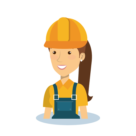 architect tools: Professional construction woman character vector illustration design.