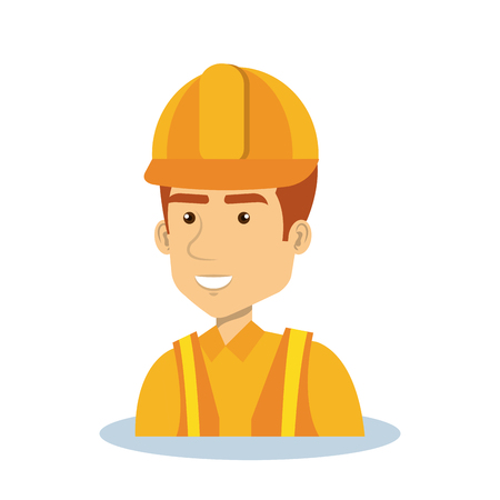 specialities: Professional construction man character vector illustration design.
