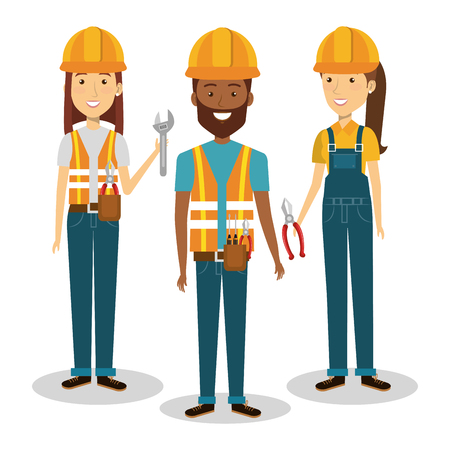 professional construction people characters illustration design
