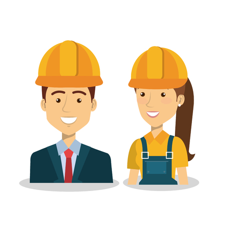 Professional construction people characters vector illustration design.