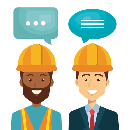 Professional construction people characters talking vector illustration design.
