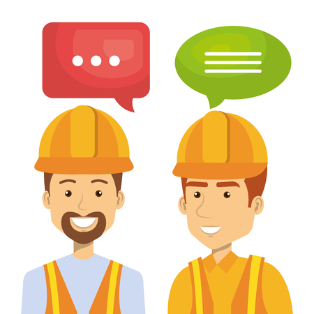 specialities: Professional construction people characters talking