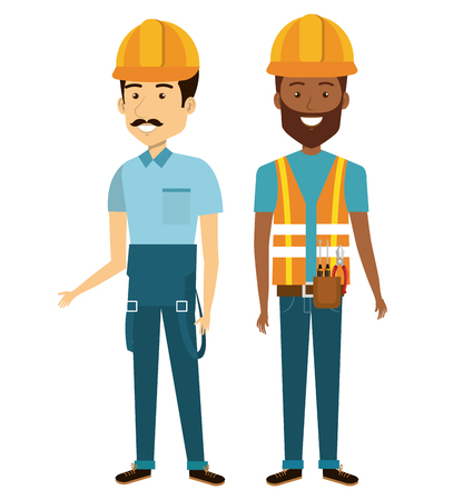 specialities: Professional construction people characters vector illustration design