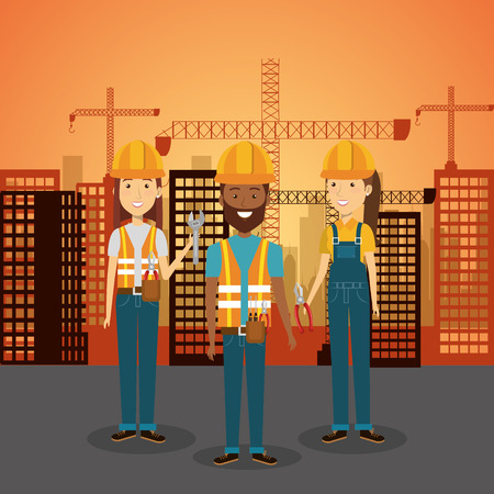specialities: Professional construction people characters with cityscape pattern vector illustration design