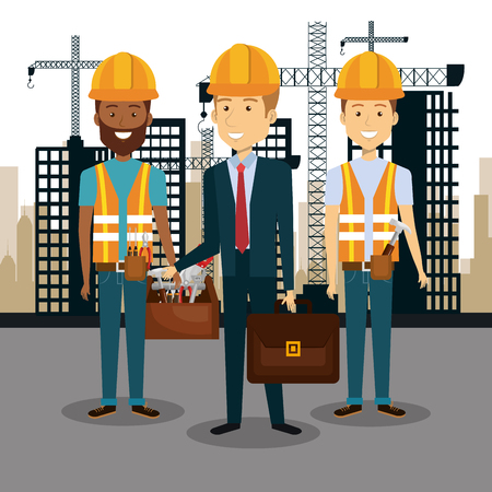 Professional construction people characters with cityscape pattern vector illustration design