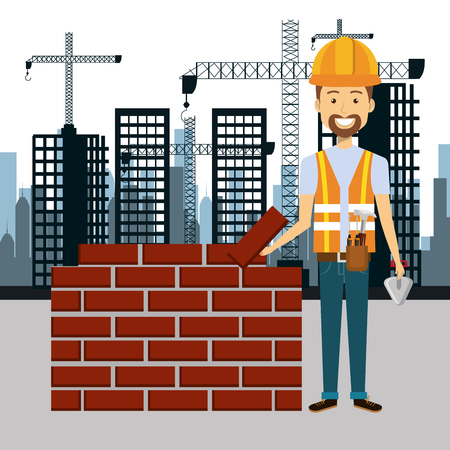 specialities: professional construction man character with cityscape background vector illustration design Illustration