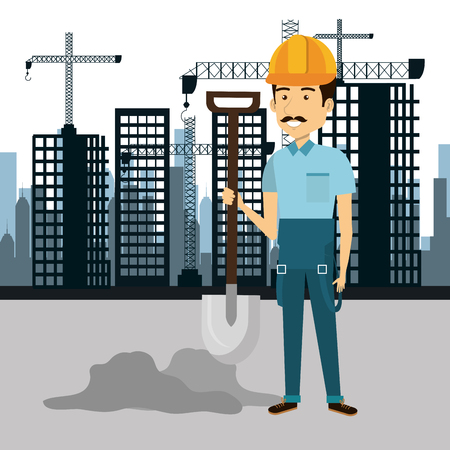 architect tools: professional construction man character with cityscape background vector illustration design Illustration