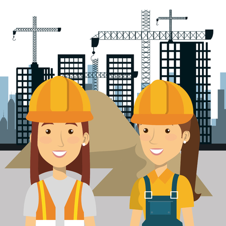 professional construction people characters with cityscape background vector illustration design