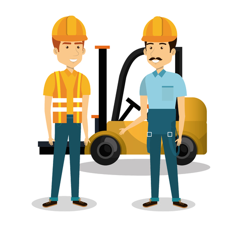 professional construction people characters vector illustration design