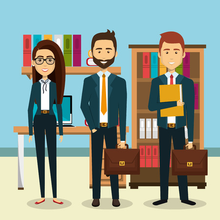 businesspeople in the office avatars characters icon vector illustration design