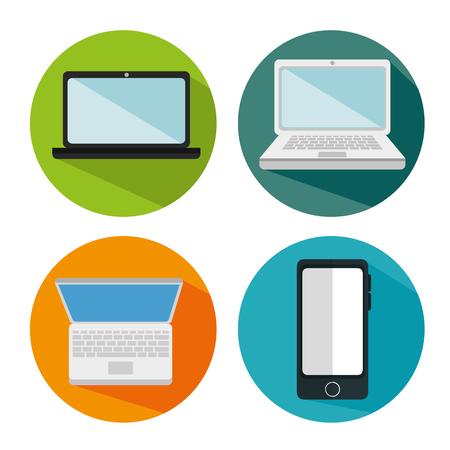 media gadget: electronics devices set icons vector illustration design Illustration