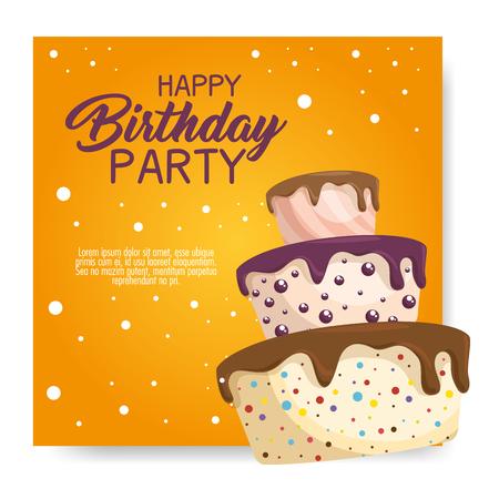 お誕生日おめでとうケーキ カード ベクトル イラスト デザイン