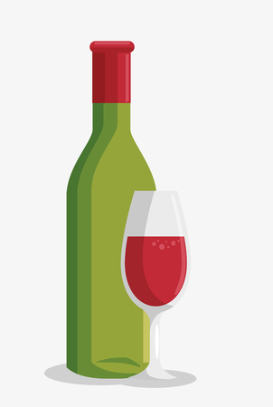 wine bottle and cup vector illustration design