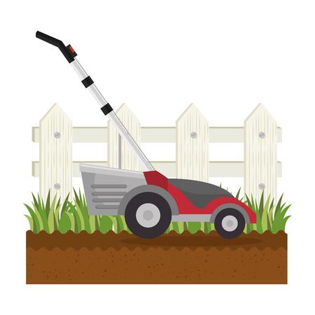 Lawn mower in garden vector illustration design
