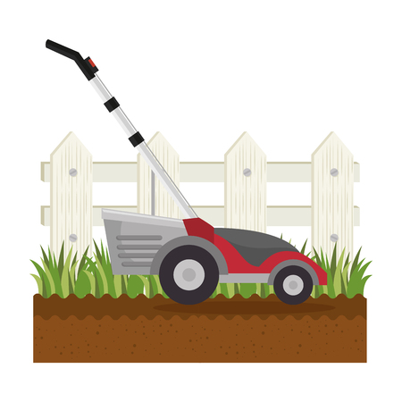 Lawn mower in garden vector illustration design Illustration