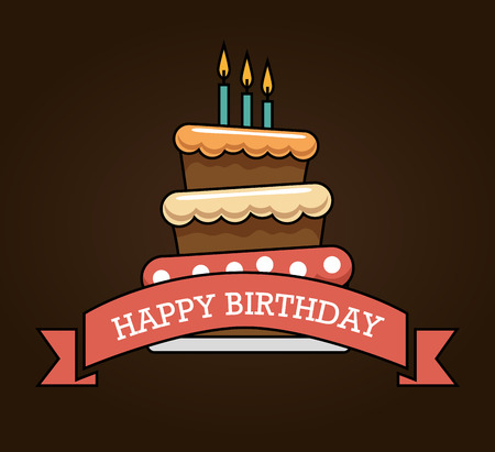happy birthday cake card vector illustration design