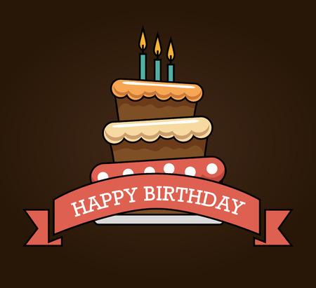 Joyeux anniversaire carte à gâteau vecteur illustration design Banque d'images - 76229307