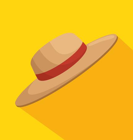 ガーデニング帽子分離アイコン ベクトル イラスト デザイン