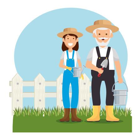 gardeners avatars characters icon vector illustration design