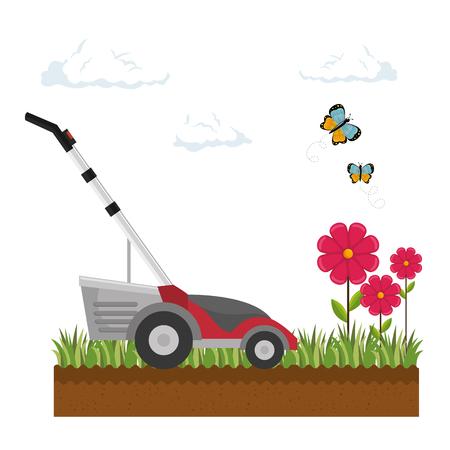 잔디 깎는 기계 고립 된 아이콘 벡터 일러스트 디자인