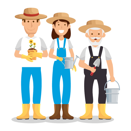progettazione dell'illustrazione di vettore dell'icona dei caratteri degli avatar dei giardinieri