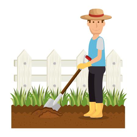 Illustrazione vettoriale illustrazione icona di carattere avatar del giardiniere.