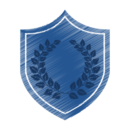 justice shield with wreath isolated icon vector illustration design