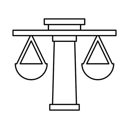 Justitie evenwicht geïsoleerd pictogram vector illustratie ontwerp