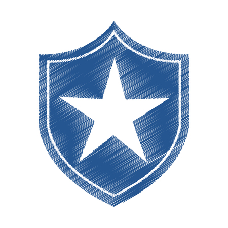justice shield with stars isolated icon vector illustration design Illustration