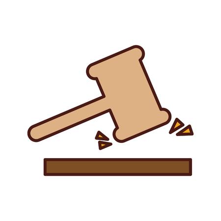 Justitie hamer geïsoleerd pictogram vector illustratie ontwerp Stock Illustratie