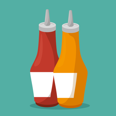sauces bottles isolated icon vector illustration design