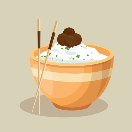 japanese rice dish and chopsticks vector illustration design Иллюстрация