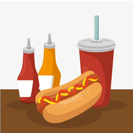 delicious fast food menu vector illustration design Ilustração