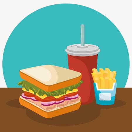 delicious fast food menu vector illustration design Banco de Imagens - 76314473