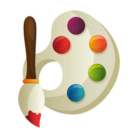 paint brush and pallete vector illustration design