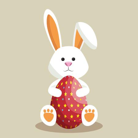cute rabbit happy easter vector illustration design