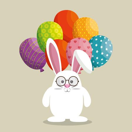 Lindo conejo feliz pascua ilustración vectorial diseño Foto de archivo - 76344528