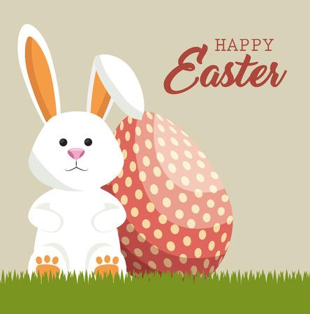 Cute Rabbit Happy Easter Conception d'illustration vectorielle Banque d'images - 76344525
