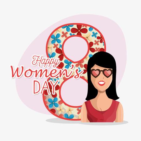 happy woman: 8 march women day eight, vector illustration design Illustration