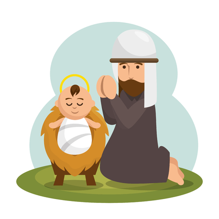 jesus baby character icon vector illustration design Illustration