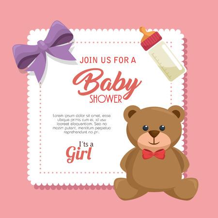 baby shower invitation card vector illustration design Illustration