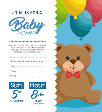 baby: baby shower invitation card vector illustration design Illustration