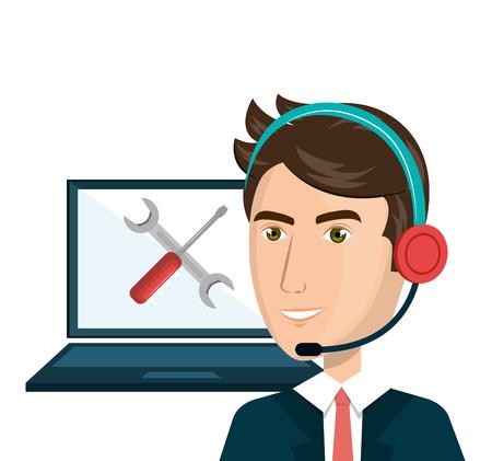computer operator: customer service agent working online vector illustration design Illustration