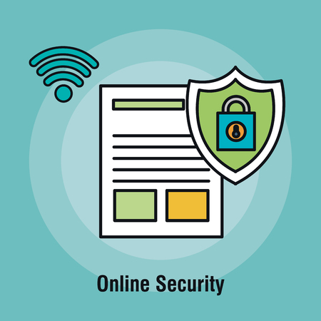document online security padlock graphic vector illustration