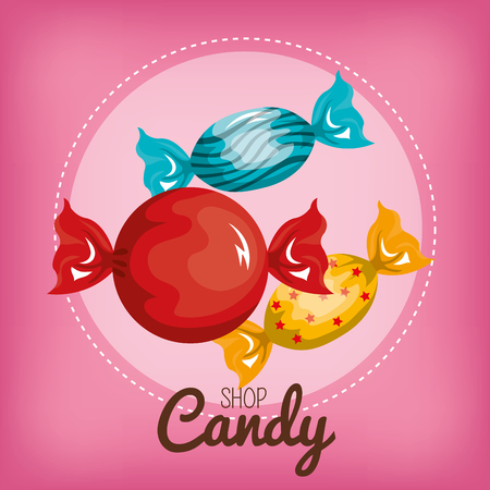 three candy with pink background vector illustration eps 10